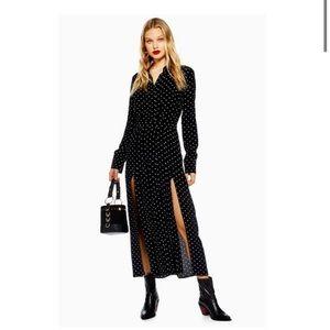 TOPSHOP black polka dot shirt dress